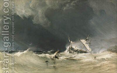 A shipwreck on the Yorkshire coast. by Anthony Vandyke Copley Fielding - Reproduction Oil Painting
