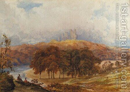 A view of Penrhyn Castle, Wales, with figures in the foreground by Anthony Vandyke Copley Fielding - Reproduction Oil Painting