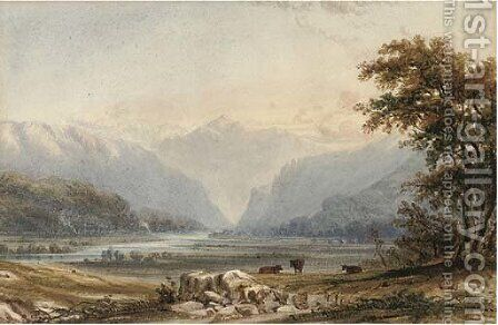 Evening, cattle grazing by a lake by Anthony Vandyke Copley Fielding - Reproduction Oil Painting