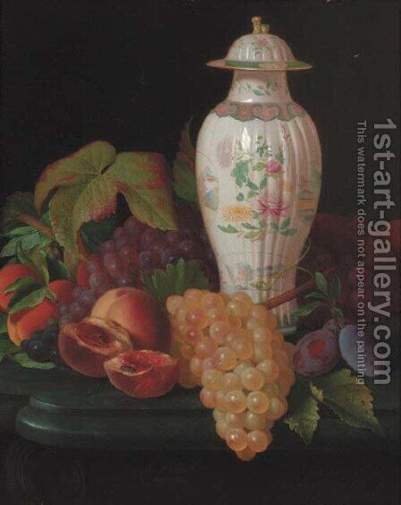 A famille rose vase with grapes by Antione Henault - Reproduction Oil Painting