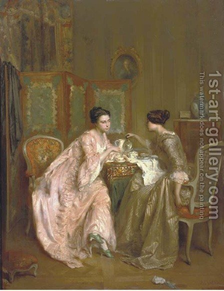 A cup of tea by Antoine Emile Plassan - Reproduction Oil Painting