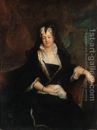 Portrait of Princess Johanna Charlotte von Anhalt, seated three-quarter-length, in widow's weeds by Antoine Pesne - Reproduction Oil Painting