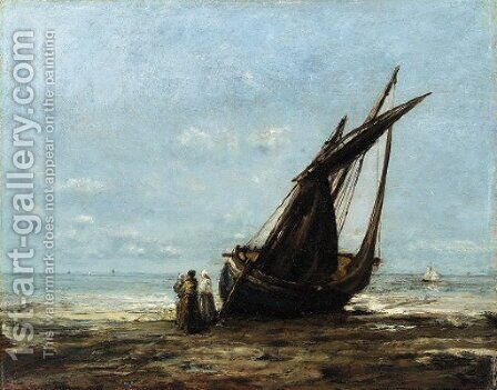 On the shore by Antoine Vollon - Reproduction Oil Painting