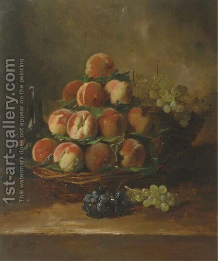 Peaches and grapes in a basket by Antoine Vollon - Reproduction Oil Painting