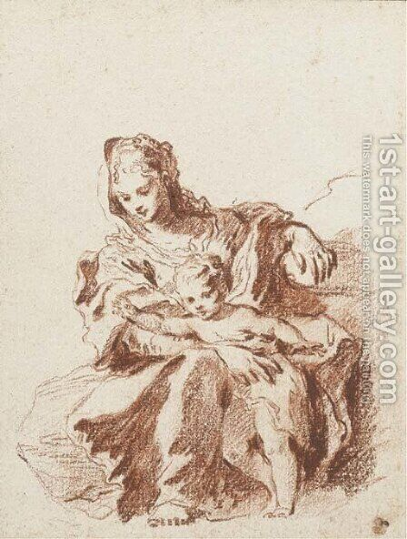 The Virgin and Child, after Schedoni by Jean-Antoine Watteau - Reproduction Oil Painting