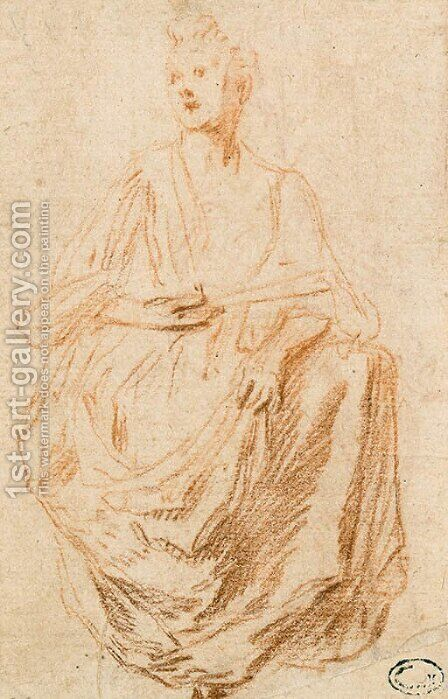 Woman sitting by Jean-Antoine Watteau - Reproduction Oil Painting