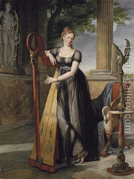 Portrait of Marie-Denise Smits nee Gandolphe by Antoine Jean Joseph Ansiaux - Reproduction Oil Painting