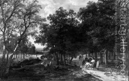 An extensive wooded landscape with huntsmen pausing on a track by Antoine Pierre Mongin - Reproduction Oil Painting