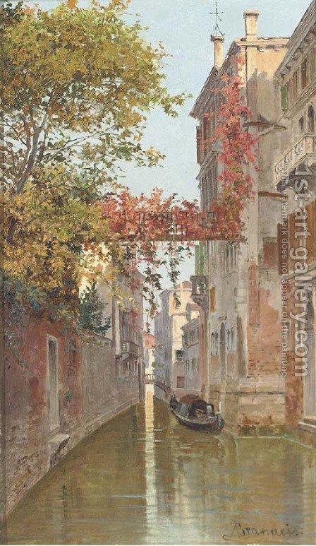 A gondola on a Venetian backwater by Antoinetta Brandeis - Reproduction Oil Painting