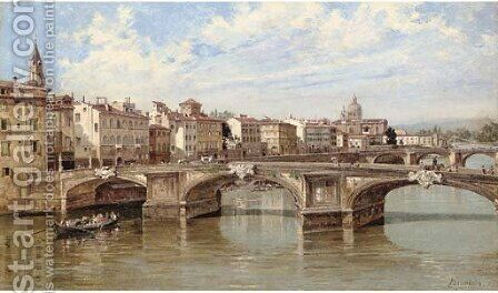 Ponte Santa Trinite, Florence by Antoinetta Brandeis - Reproduction Oil Painting