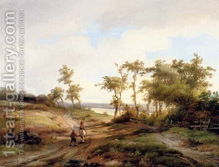 Figures in a summer landscape by Anton Braakman - Reproduction Oil Painting