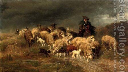 Heimkehr im Sturm herding the flock by Anton Braith - Reproduction Oil Painting