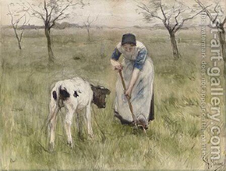A Peasant Woman and her Calf by Anton Mauve - Reproduction Oil Painting