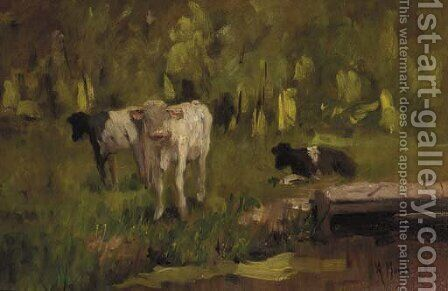 Calves in a meadow - a study by Anton Mauve - Reproduction Oil Painting