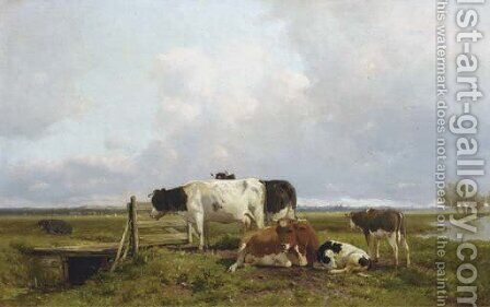 Cattle in an extensive polder landscape by Anton Mauve - Reproduction Oil Painting