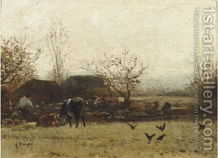 Cows grazing near a farm by Anton Mauve - Reproduction Oil Painting
