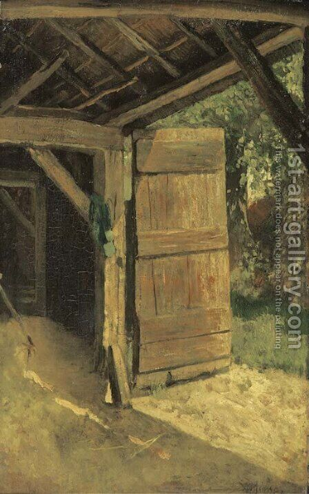 De staldeur A sunny farmyard by Anton Mauve - Reproduction Oil Painting