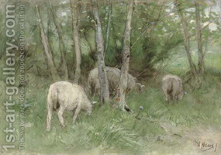 Sheep in a Meadow by Anton Mauve - Reproduction Oil Painting