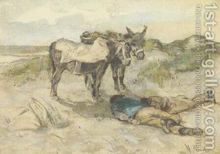 Welcome shade donkeys and their keepers in the dunes by Anton Mauve - Reproduction Oil Painting