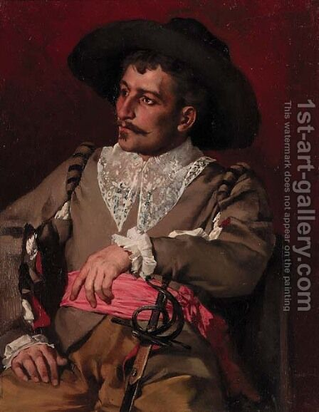 The pensive cavalier by Anton Muller - Reproduction Oil Painting