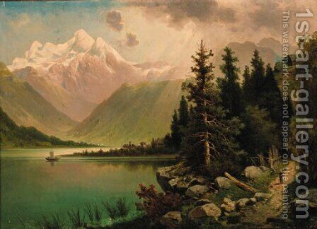 An extensive Alpine landscape by Anton Pick - Reproduction Oil Painting
