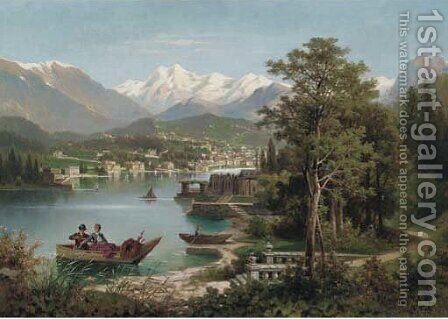 Figures boating in an Austrian lake landscape by Anton Pick - Reproduction Oil Painting
