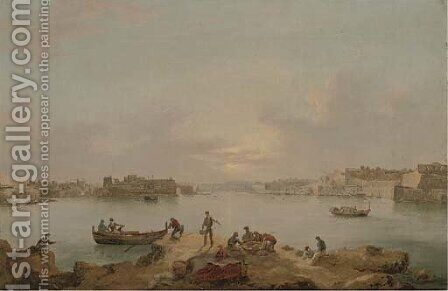 A panorama of the Grand Harbour, Valetta, at dusk by Anton the Younger Schranz - Reproduction Oil Painting
