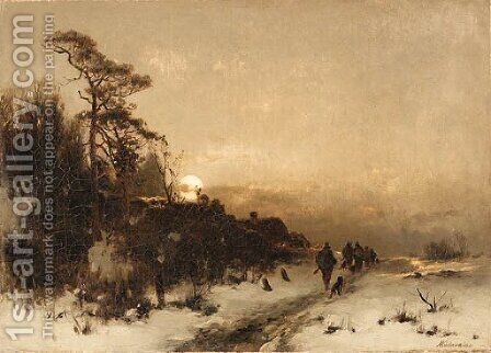 A walk along a snowy path by Anton Windmaier - Reproduction Oil Painting