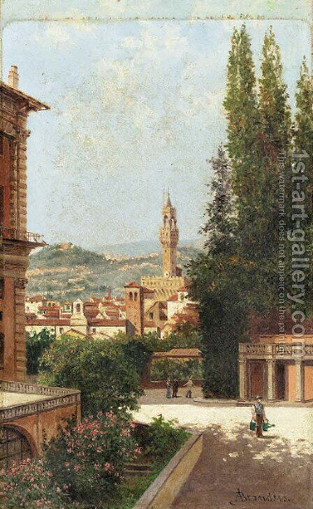 A view of the Boboli Gardens by Antonietta Brandeis - Reproduction Oil Painting