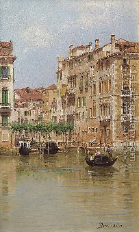 A view on a canal in Venice by Antonietta Brandeis - Reproduction Oil Painting
