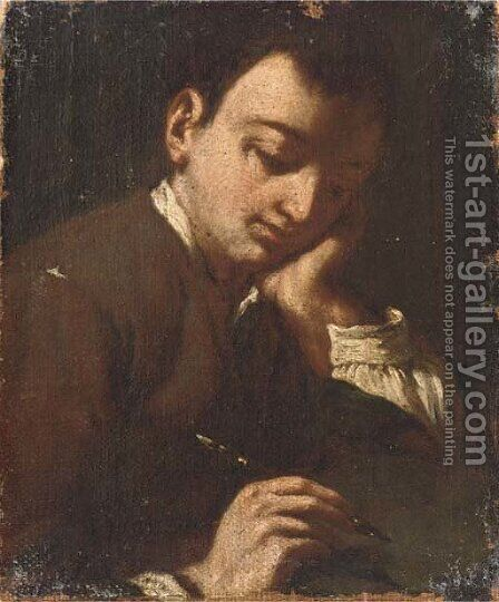 A boy writing by Antonio Amorosi - Reproduction Oil Painting