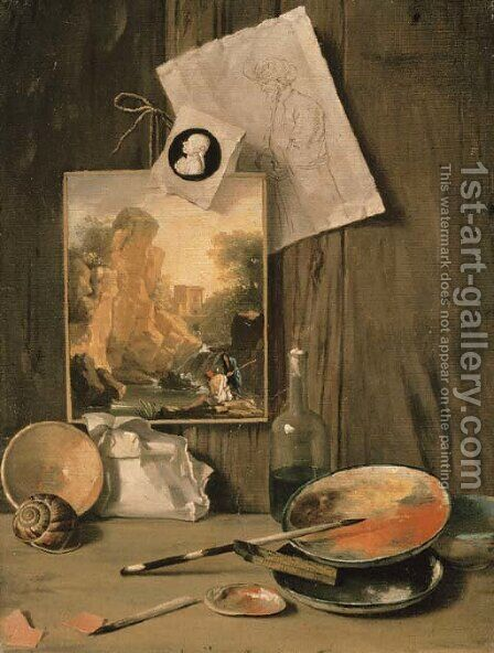 A trompe l'oeil still life of the artist's studio by Antonio Cioci or Ciocchi - Reproduction Oil Painting