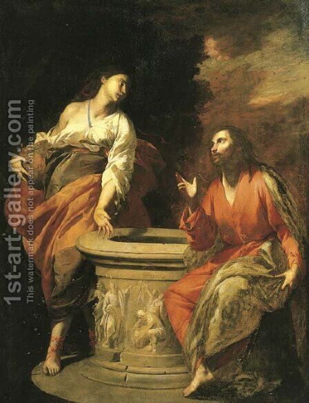 Christ and the Woman of Samaria at the well by Antonio De Bellis - Reproduction Oil Painting