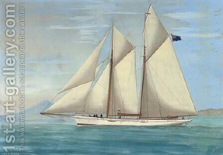 The R.D.Y.C. racing schooner Medora in the Mediterranean off Naples by Antonio de Simone - Reproduction Oil Painting