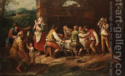 Peasants eating in a farmyard by Antonio Diziani - Reproduction Oil Painting