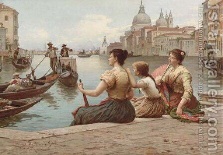 Waiting for the Gondola by Antonio Paoletti - Reproduction Oil Painting