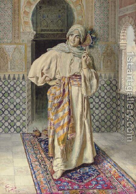 An Oriental Lady with a Fan by Antonio Gargiullio - Reproduction Oil Painting