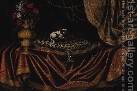 A toy spaniel on an embroidered cushion with a vase of flowers on a draped table by Antonio Gianlisi The Younger - Reproduction Oil Painting