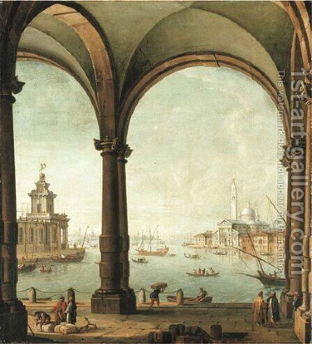 A capriccio of the Bacino di San Marco, Venice, from the entrance to the Giudecca, with the Punta della Dogana and San Giorgio Maggiore by Antonio Joli - Reproduction Oil Painting