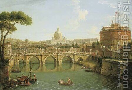 Rome, a view of the Tiber looking downstream with the Castel and Ponte Sant' Angelo, Saint Peter's Basilica and the Vatican, Santo Spirito in Sassia by Antonio Joli - Reproduction Oil Painting
