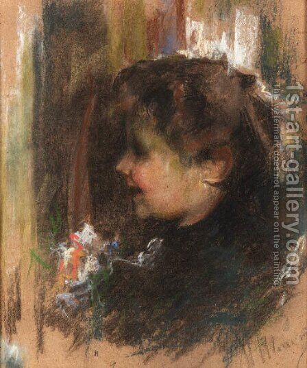 A glad young lady by Antonio Mancini - Reproduction Oil Painting