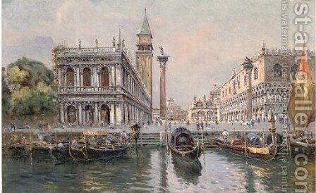 Piazzetta of San Marco, Venice by Antonio Reyna Manescau - Reproduction Oil Painting