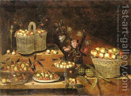 A glass bowl, a pewter plate, a tazza and wicker baskets with cherries, apples, pears, figs and other fruits, with a vase of flowers and artichokes by Antonio Ponce - Reproduction Oil Painting
