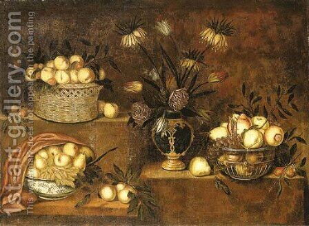 Peaches in a wicker basket, a vase of flowers and bowls with pears, grapes and pomegranates on stepped ledges by Antonio Ponce - Reproduction Oil Painting