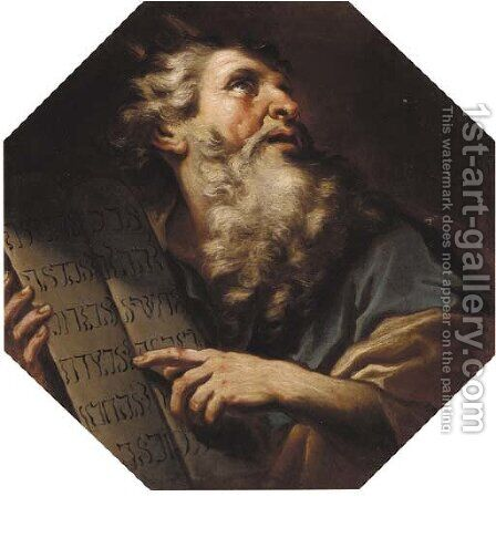 Moses receiving the Ten Commandments by Antonio Zanchi - Reproduction Oil Painting