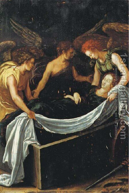 The Entombment of Saint Catherine by Antwerp School - Reproduction Oil Painting
