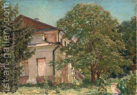A house in a wooded landscape by Apollinari Mikhailovich Vasnetsov - Reproduction Oil Painting