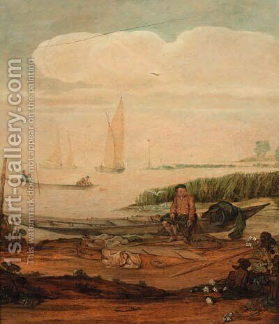 A river landscape with a fisherboy mending a net seated on a punt on the shoreline, other shipping beyond by Arentsz van der Cabel - Reproduction Oil Painting