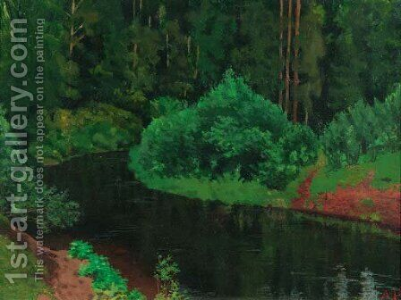 Wooded Landscape with River by Arkadij Aleksandrovic Rylov - Reproduction Oil Painting