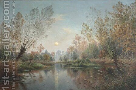Lever de lune sur la Suippe by Armand Guery - Reproduction Oil Painting